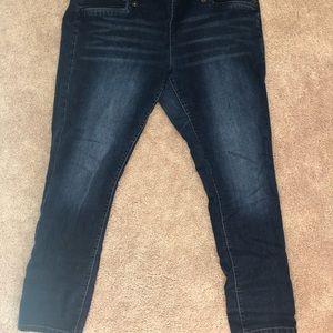 Dark blue jeans side zipper